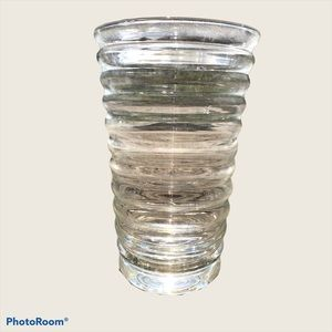 Handmade quality clear textured glass vase